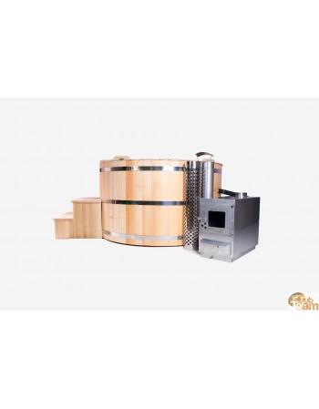 Lark træbadekar med ekstern rustfri stålvarmer